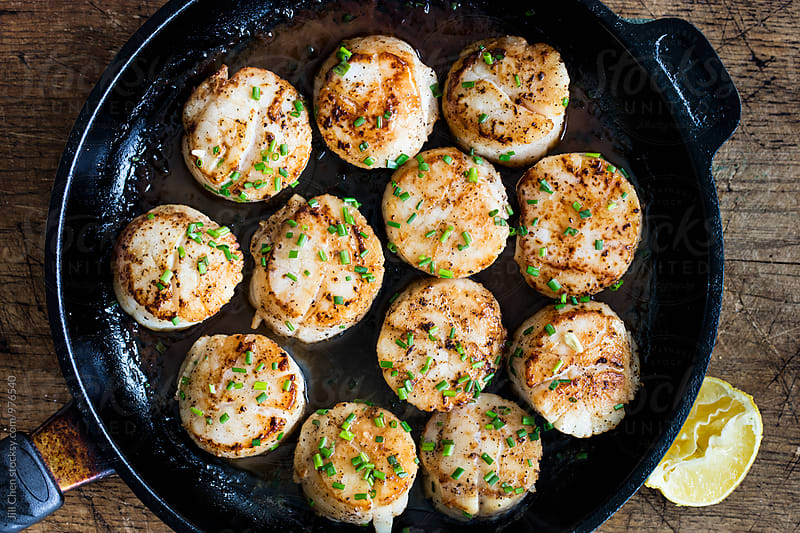 Pan Seared Sea Scallops by Jill Chen for Stocksy United