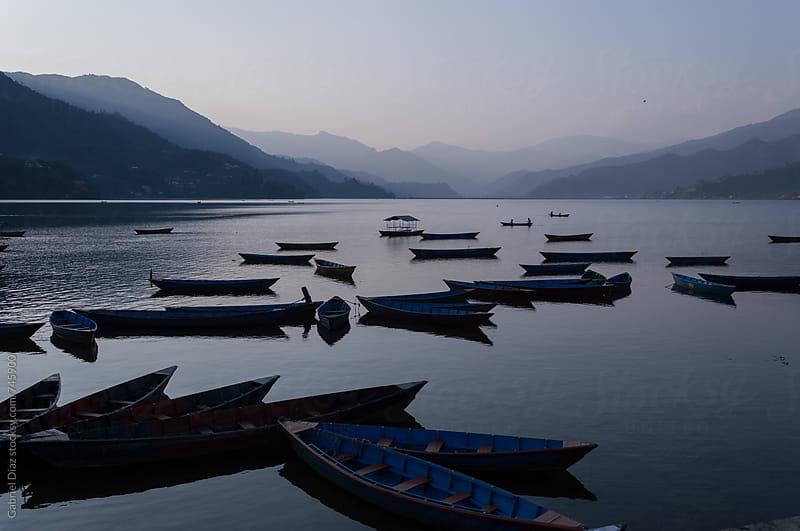 Boats in Pokhara Nepal Fewa Lake by Gabriel Diaz for Stocksy United