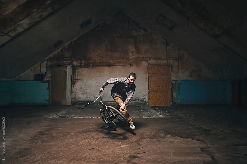 Man Jumping on His BMX Bike by Lumina for Stocksy United