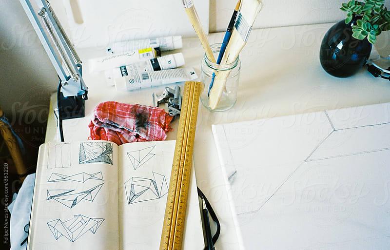 Artist's desk by Felipe Neves for Stocksy United