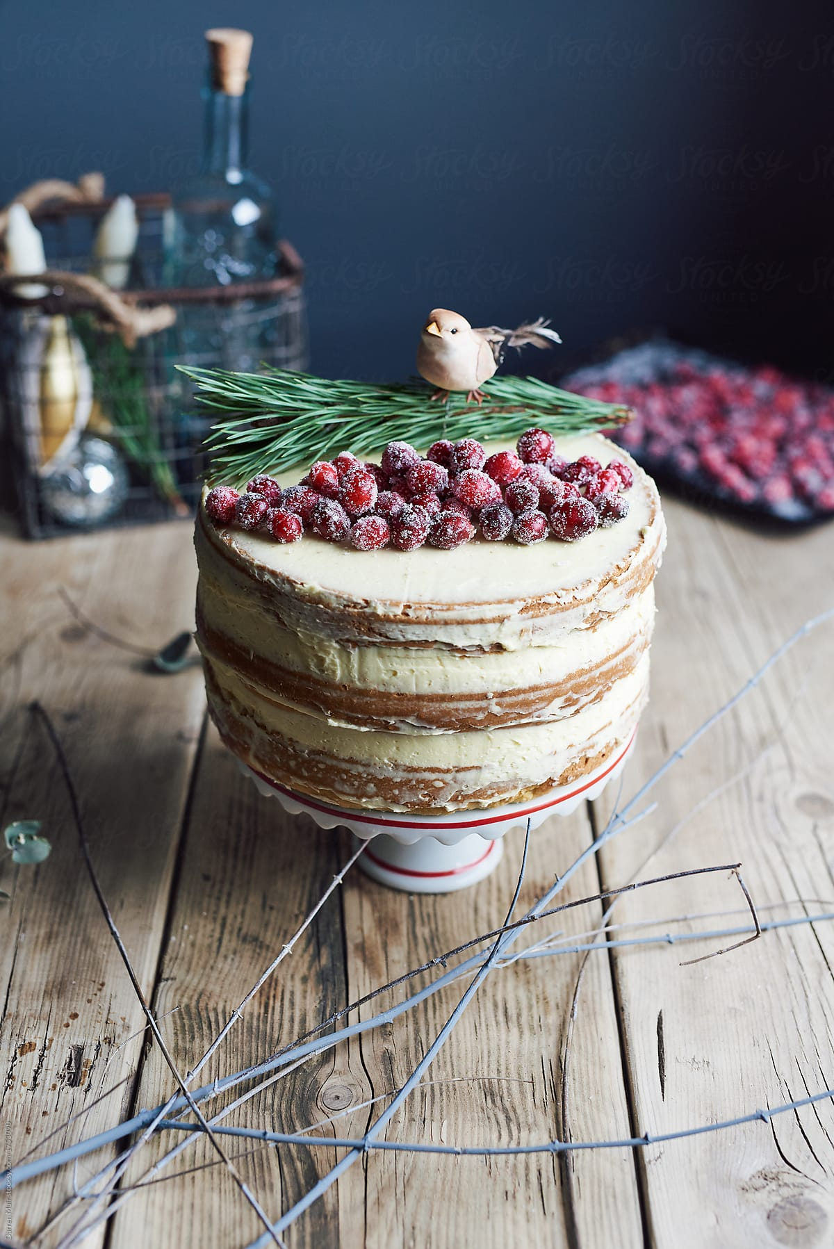 christmas cake naked cranberry christmas cakewith vanilla buttercream icing by darren muir
