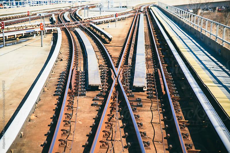 Detail of train tracks - railway by Alejandro Moreno de Carlos for Stocksy United