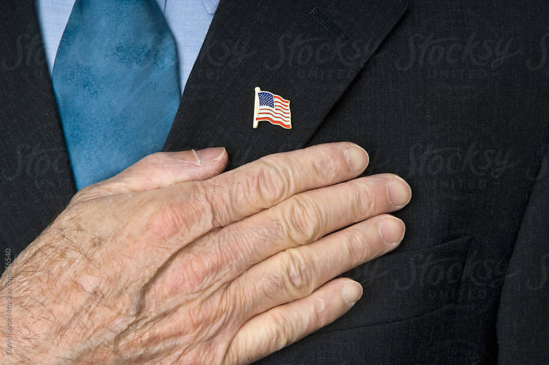 USA Flag Lapel Pin & Hand by David Smart for Stocksy United