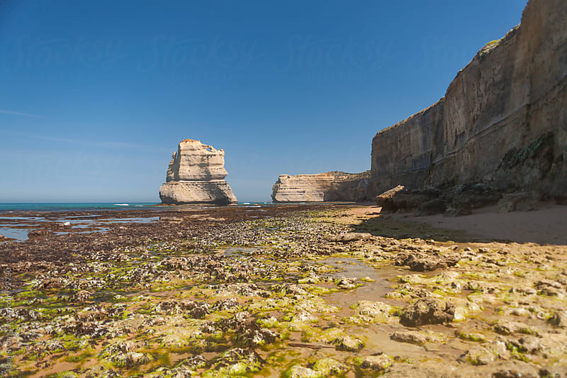 High sandstone cliffs at low tide by Ben Ryan for Stocksy United