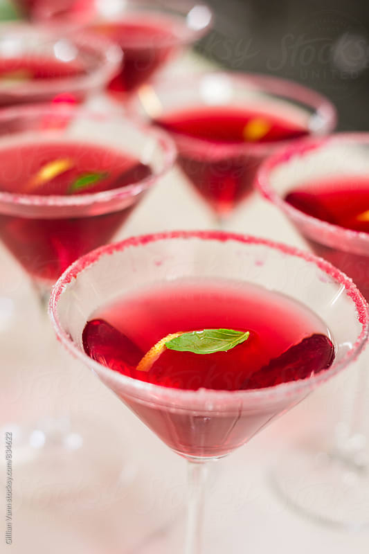 red cocktails for christmas by Gillian Vann for Stocksy United