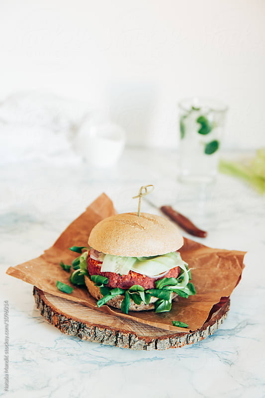Vegan burger by Nataša Mandić for Stocksy United