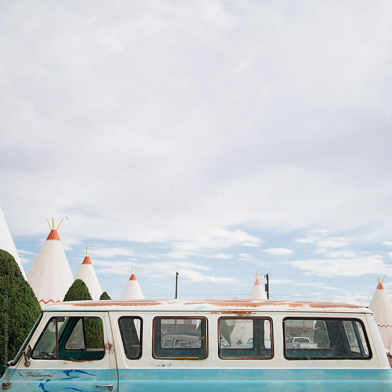 Old van parked in front tipi's. Route 66, Arizona by Jeremy Pawlowski for Stocksy United