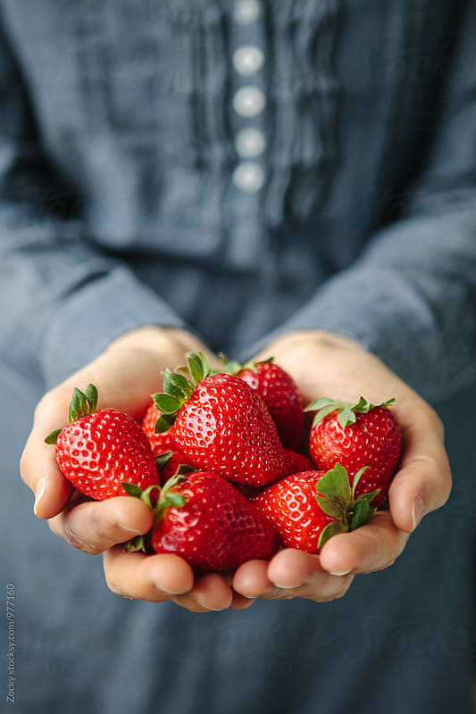 Hands Holding Strawberries by Zocky for Stocksy United