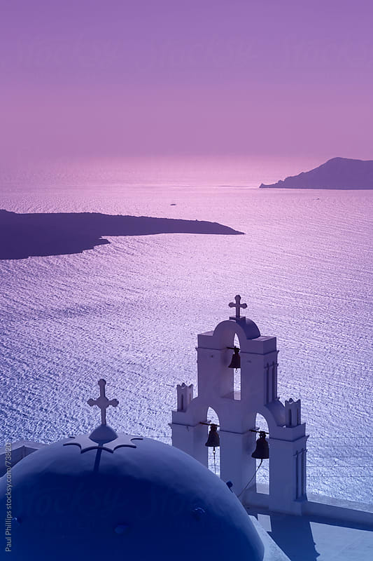 Firostefani church Santorini just after sunset by Paul Phillips for Stocksy United