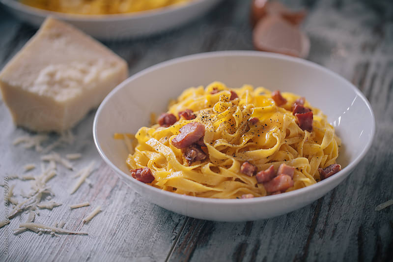 Tagliatelle carbonara by Davide Illini for Stocksy United