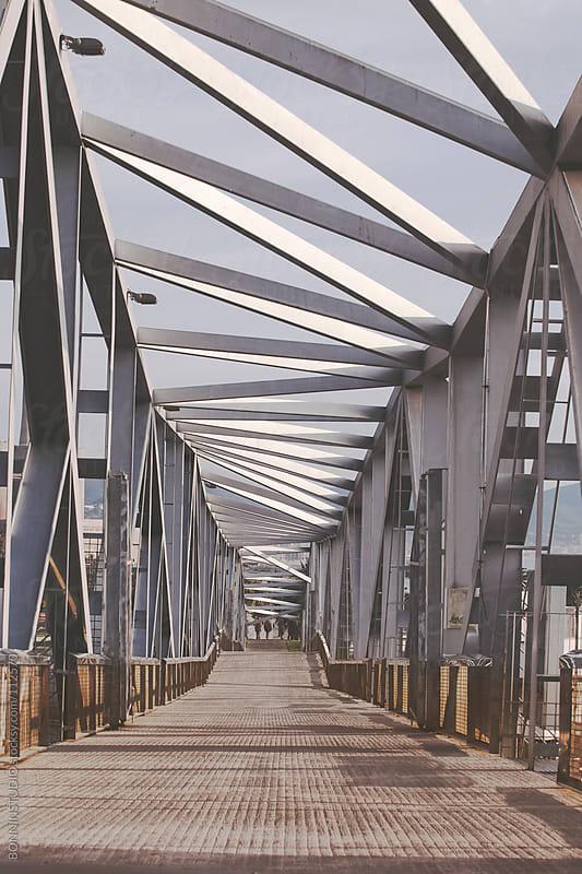 Metal bridge on Barcelona city. by BONNINSTUDIO for Stocksy United