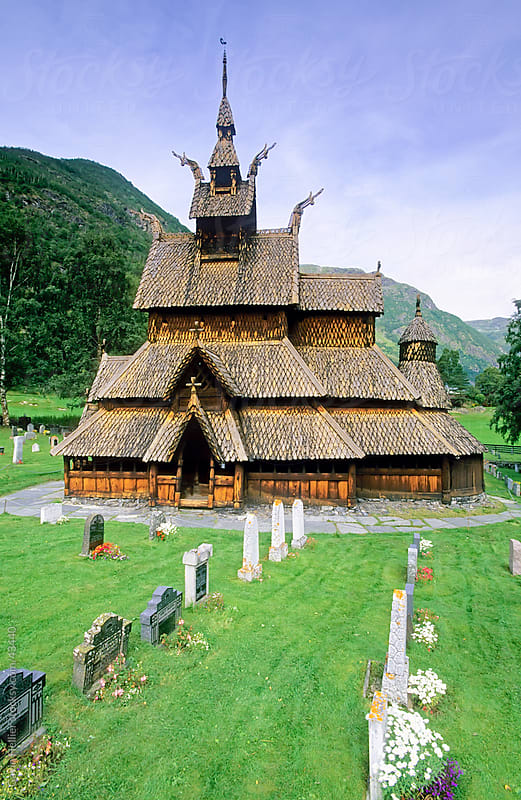 The best preserved 12th century stave Christian church in Norway, Borgund Stave Church, Western Fjords, Norway, Scandinavia, Europe by Gavin Hellier for Stocksy United