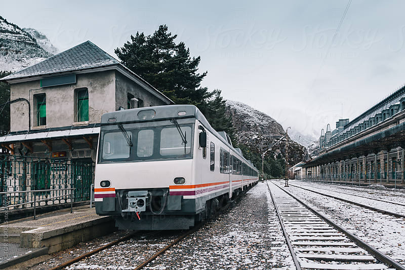 Old Train in Canfranc Railway Station by VICTOR TORRES for Stocksy United