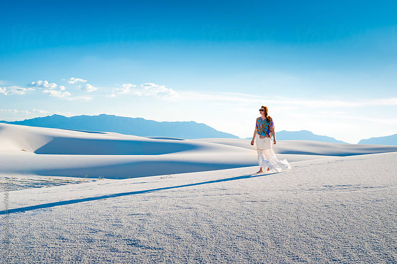 Woman In White Skirt Walking Barefoot on White Sand Dunes In White Sands National Monument New Mexico by JP Danko for Stocksy United
