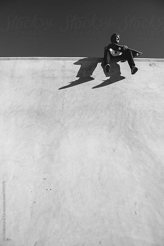 Skater on half pipe wall by Urs Siedentop & Co for Stocksy United