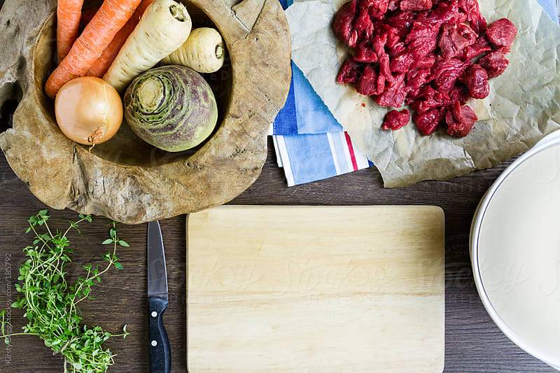 Beef casserole ingredients by Kirsty Begg for Stocksy United
