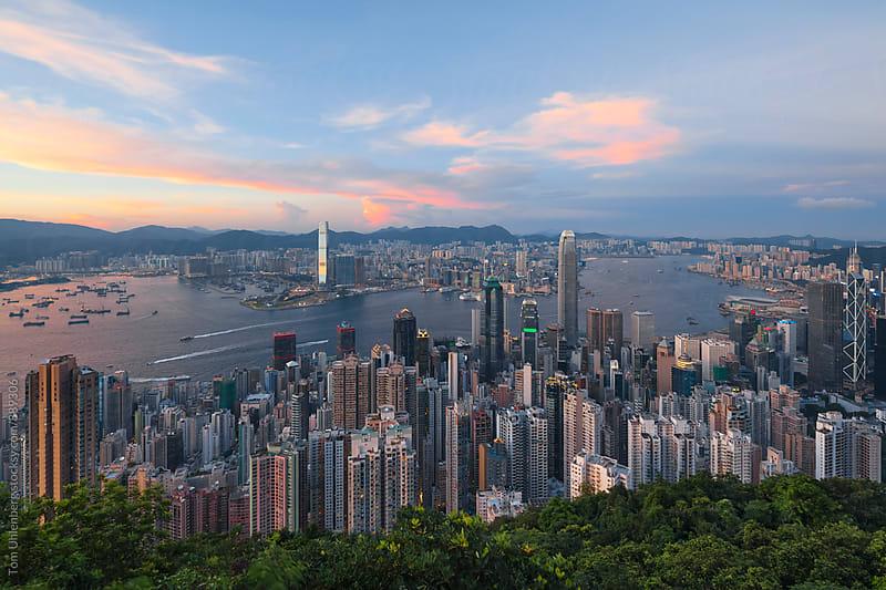 Panorama of Hong Kong in Sunset Light by Tom Uhlenberg for Stocksy United