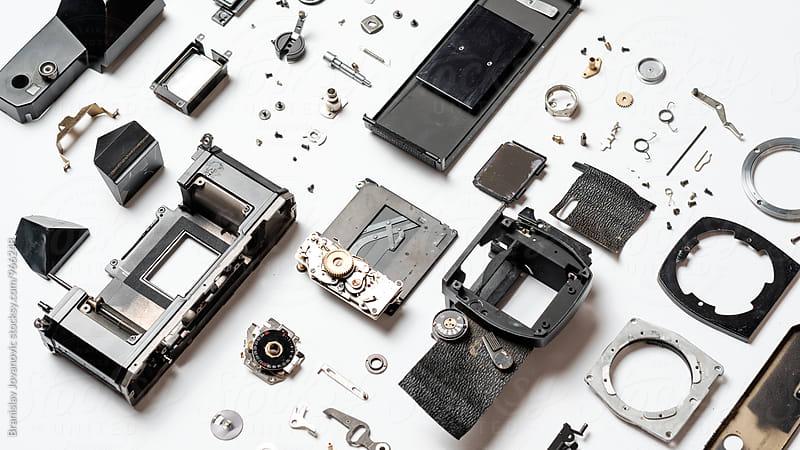Neatly Organized Parts of Analog Camera by Branislav Jovanović for Stocksy United
