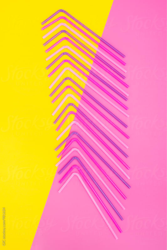 Straws on pastel layers by WAVE for Stocksy United