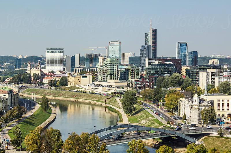 View to Vilnius' modern town by Melanie Kintz for Stocksy United