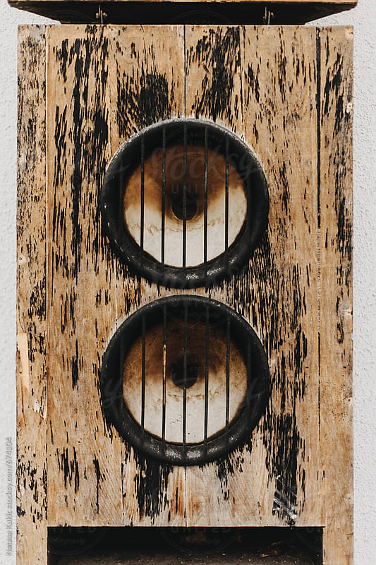 Large wooden vintage speaker by Natasa Kukic for Stocksy United