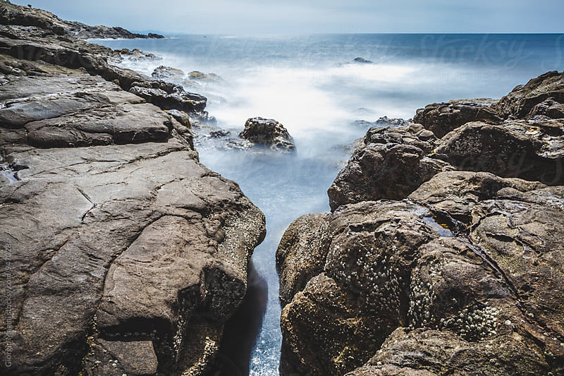 Rocky Coast in Italy, Long Exposure Seascape by Giorgio Magini for Stocksy United