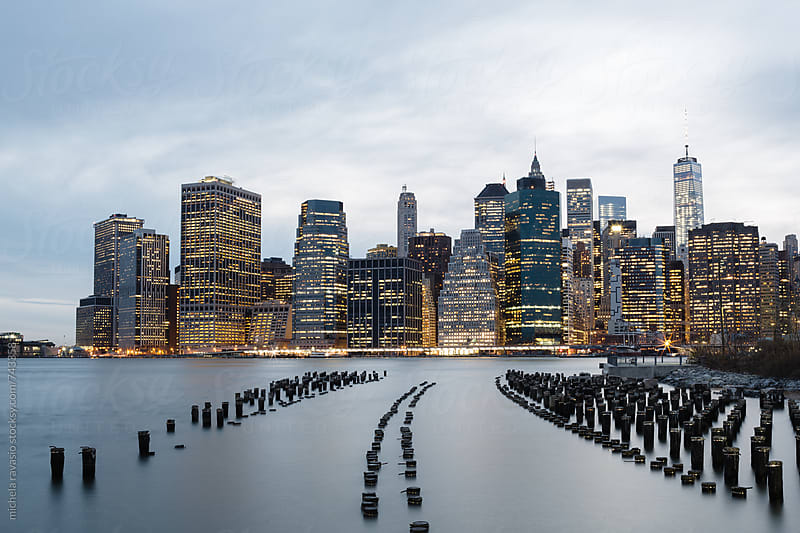 Cityscape of Manhattan at dusk, New York City by michela ravasio for Stocksy United