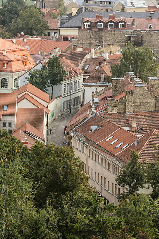 Street in Vilnius' old town by Melanie Kintz for Stocksy United