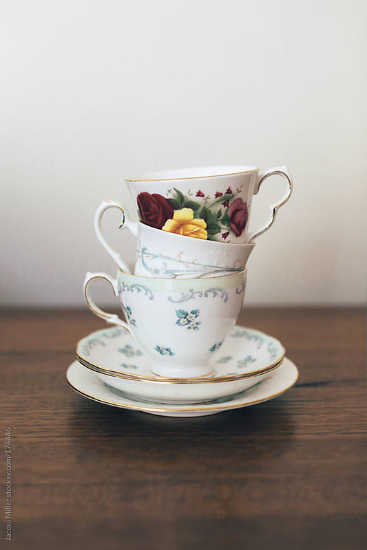 Three china teacups by Jacqui Miller for Stocksy United