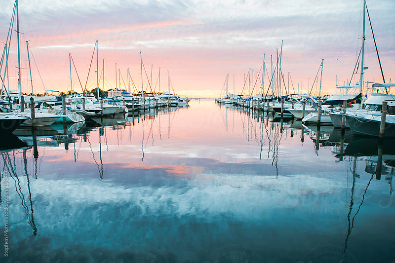 Boats in Marina at Sunrise by Stephen Morris for Stocksy United