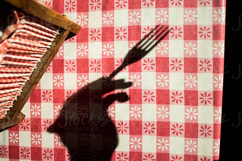 Shadow of a Hand and Fork in Harsh Light with Napkin Holder on a Picnic Table by meredith adelaide for Stocksy United