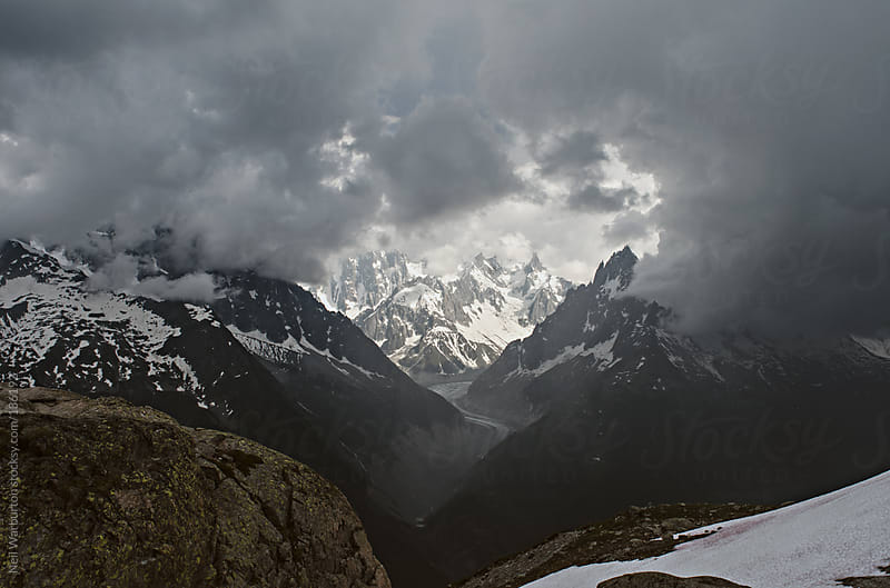 Storm brewing over the Mer de Glace by Neil Warburton for Stocksy United