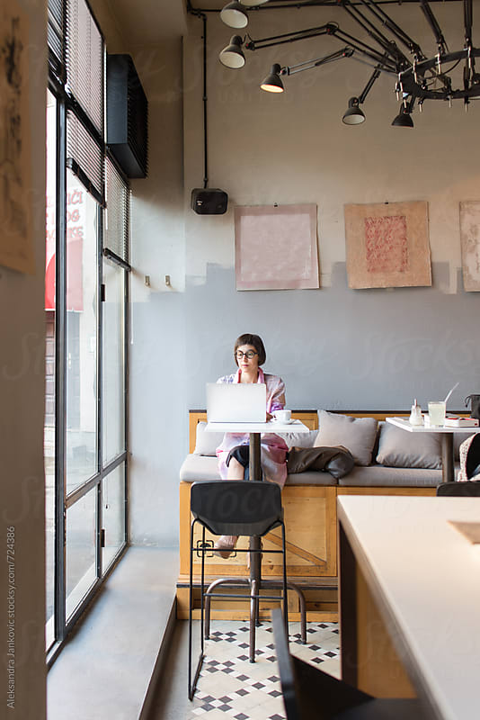 Businesswoman Working on Laptop at the Cafe by Aleksandra Jankovic for Stocksy United