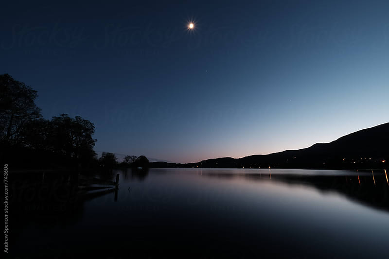 Moon over Coniston Water by Andrew Spencer for Stocksy United