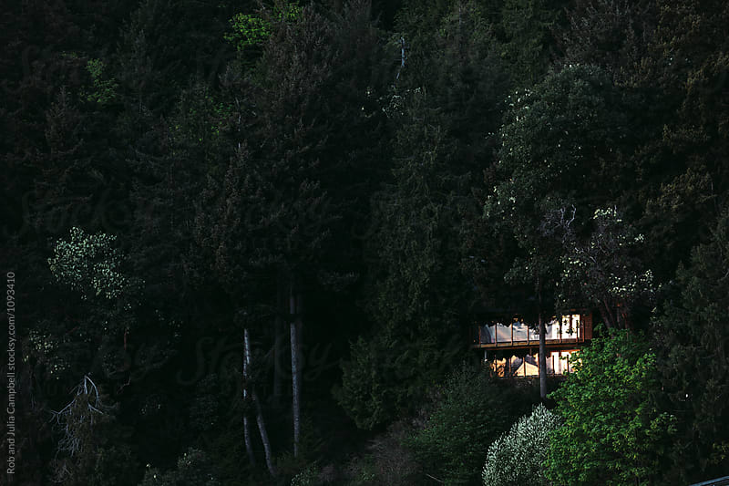 Wood house hiding in trees at sunset by Rob and Julia Campbell for Stocksy United