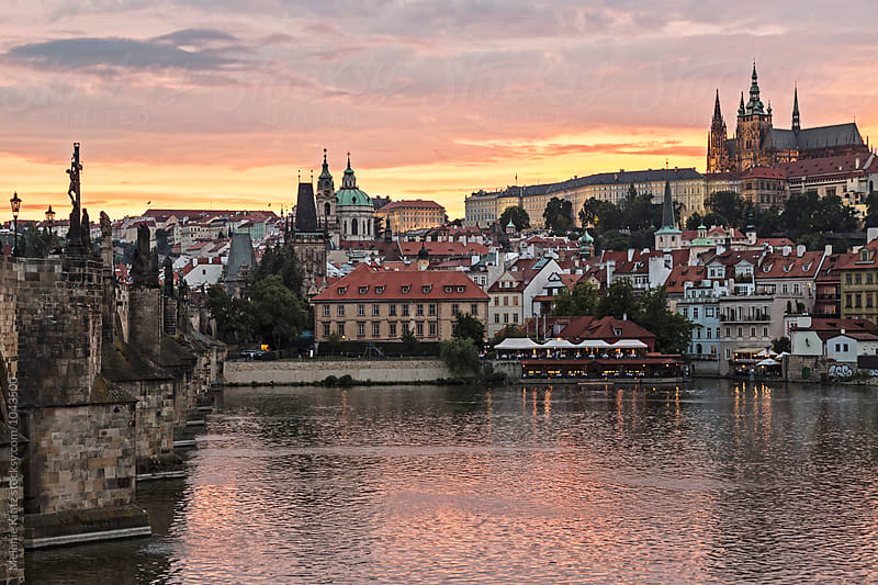 View at Prague's Castle at sunset by Melanie Kintz for Stocksy United