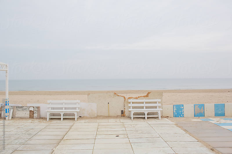 Benches along the sea by michela ravasio for Stocksy United