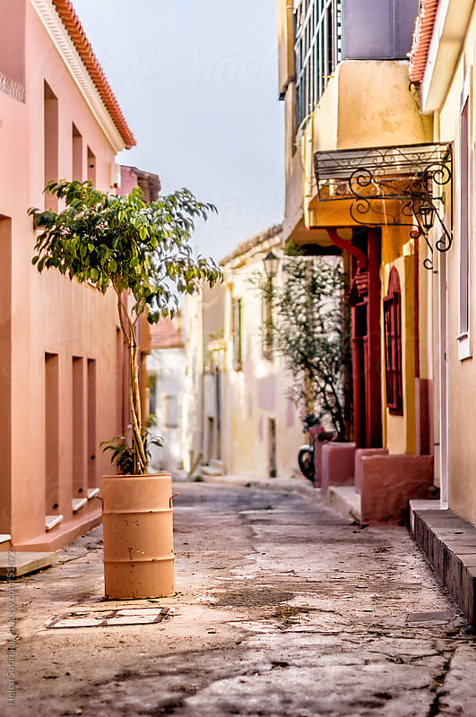 A street in Plaka, the historic center of Athens by Helen Sotiriadis for Stocksy United