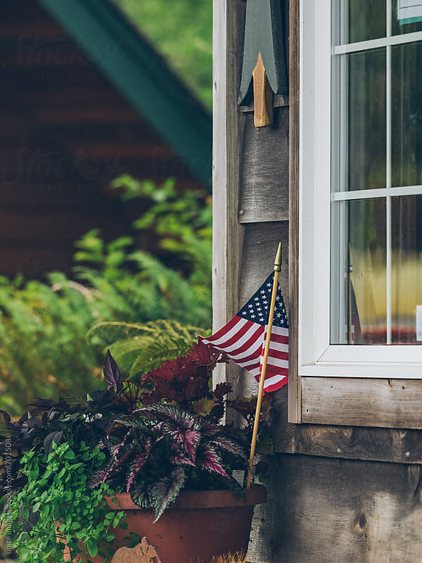 window box with flag by unite images for Stocksy United