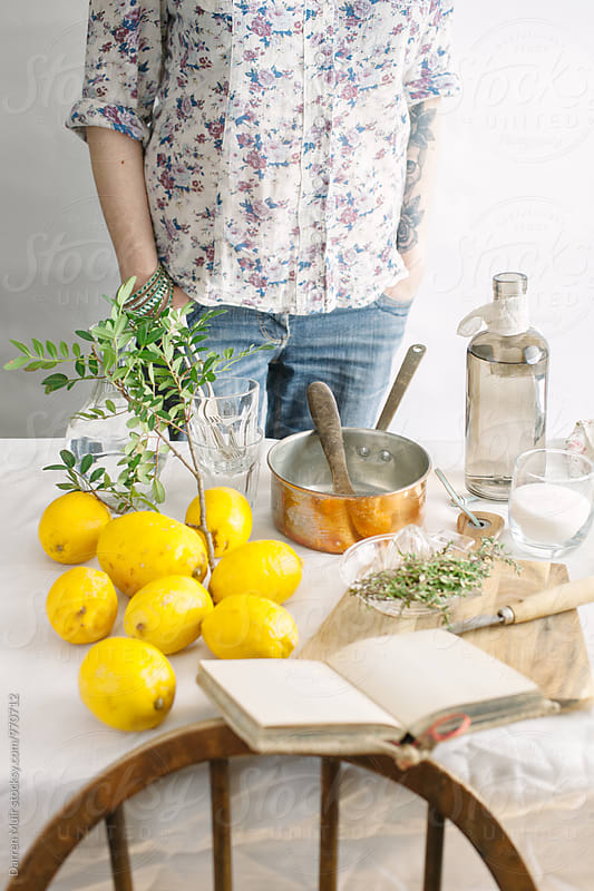 Series showing the making of homemade lemonade infused with thyme: by Darren Muir for Stocksy United