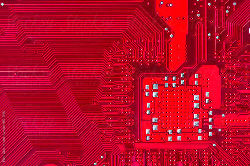 Red printed circuit board background by Pixel Stories for Stocksy United
