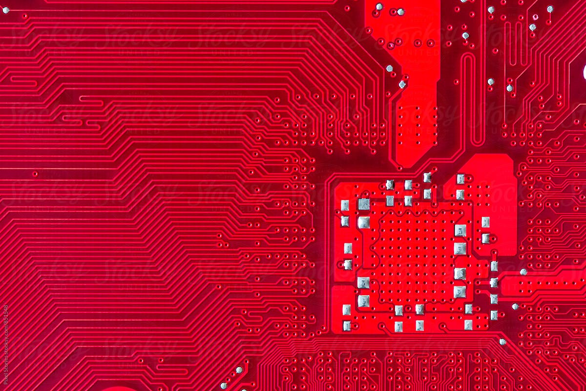 Red Printed Circuit Board Background Stocksy United By Pixel Stories For