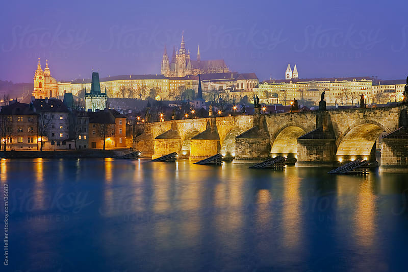 St. Vitus Cathedral, Charles Bridge and the Castle District illuminated at night, UNESCO World Heritage Site, Prague, Czech Republic, Europe  by Gavin Hellier for Stocksy United
