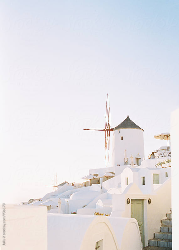 Traditional Greek buildings on Santorini island by Julia K for Stocksy United