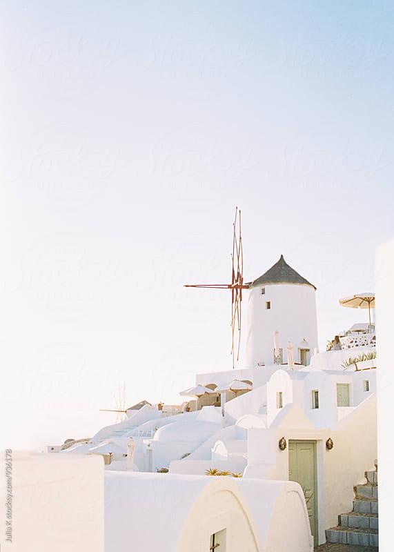 Traditional Greek buildings on Santorini island by Julia Kaptelova for Stocksy United