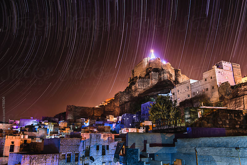 Startrails Over Old Town by Alexander Grabchilev for Stocksy United