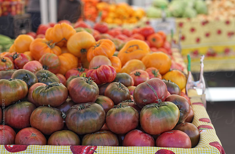 Heirloom tomatoes at the local farmers market by Monica Murphy for Stocksy United