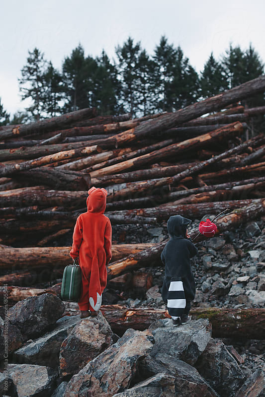 Kids dressed up like fox and raccoon staring at pile of clearcut logs by Rob and Julia Campbell for Stocksy United