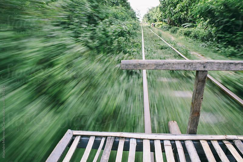 Bamboo train in Cambodia by Alejandro Moreno de Carlos for Stocksy United
