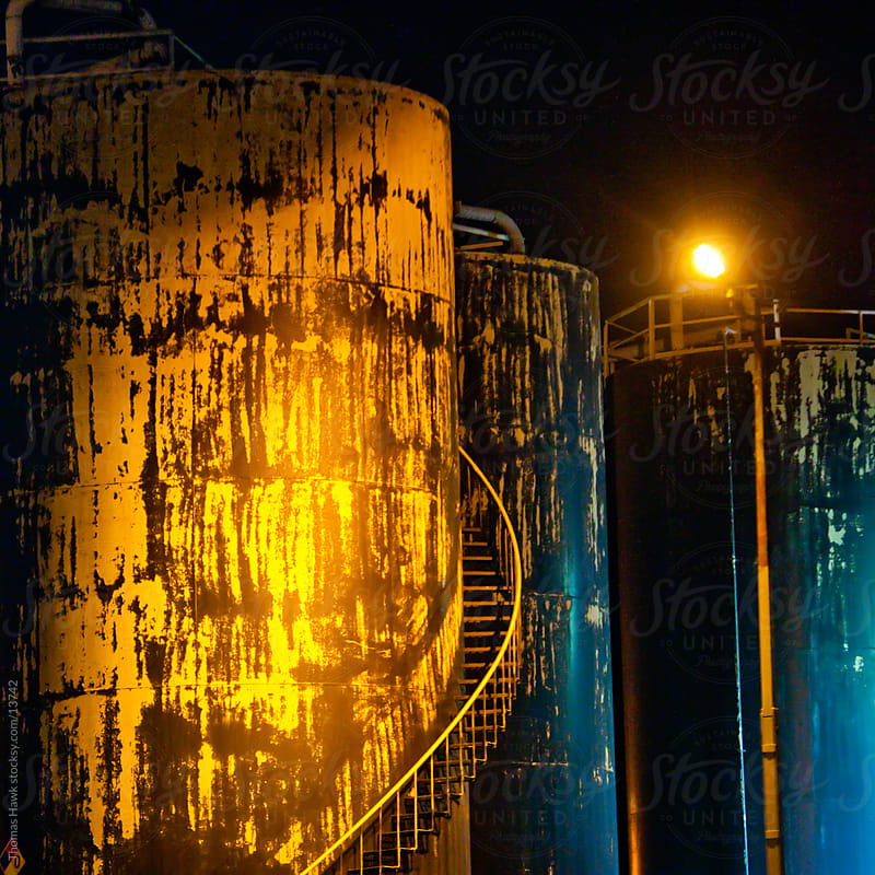 Oil refinery tanks by Thomas Hawk for Stocksy United